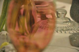 transparence du verre rose