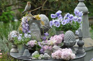 Composition des pensées au jardin