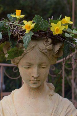 Aurore couronne de lierre et jonquilles