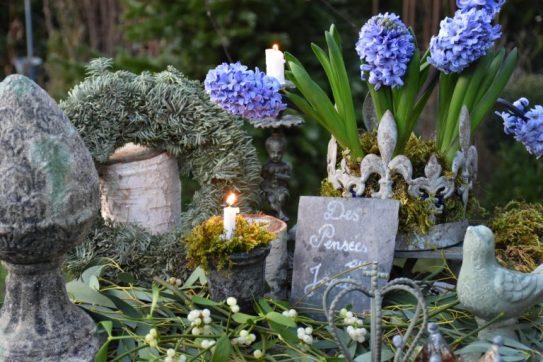 Couronne de jacinthes bleues