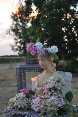 Fin d'été, la dame aux hortensias